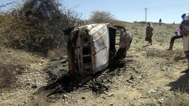 A destroyed car that was carrying militants in the Sawmaa area of al-Bayda province, Yemen. (AP)