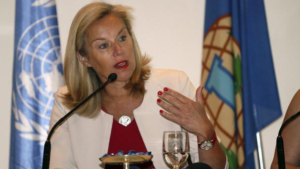 Sigrid Kaag, of the Organisation for the Prohibition of Chemical Weapons, speaks during a press conference in Damascus (AP)