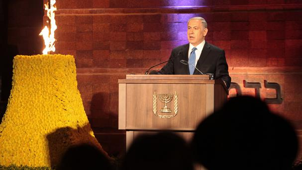 Israeli prime minister Benjamin Netanyahu speaks at the opening ceremony of the Holocaust Remembrance Day at the Yad Vashem memorial in Jerusalem (AP)
