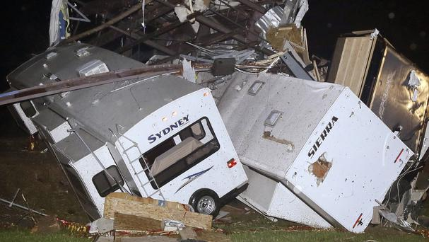 Caravans and motor homes are piled on top of each other at Mayflower RV in Mayflower, Arkansas (AP)