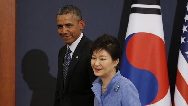 US president Barack Obama and South Korean president Park Geun-hye during his visit to Seoul (AP)