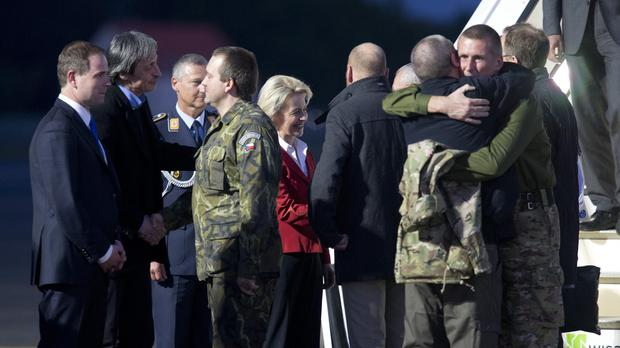 European government ministers welcome the released OSCE observers in Berlin, Germany (AP)