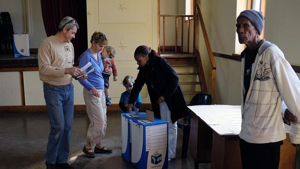 Voters cast their ballots in Cedarville, Eastern Cape, South Africa (AP)