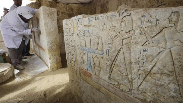 The newly-discovered tomb dates back to around 1100 BC (AP Photo/Amr Nabil)