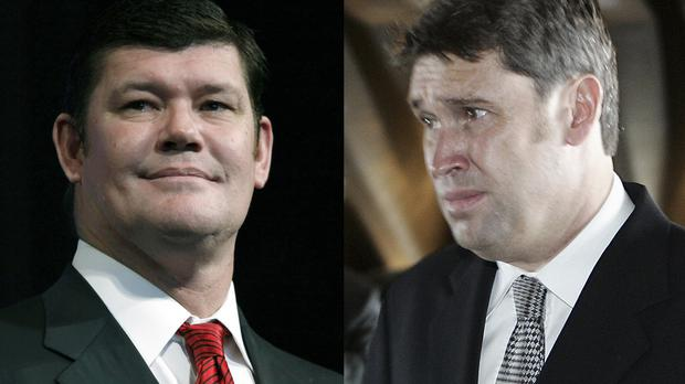 Casino mogul James Packer, left, and his friend David Gyngell, have been fined over their street brawl