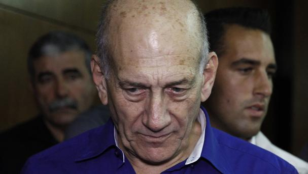 Israel's former prime minister Ehud Olmert at the Tel Aviv District Court in Israel (AP)