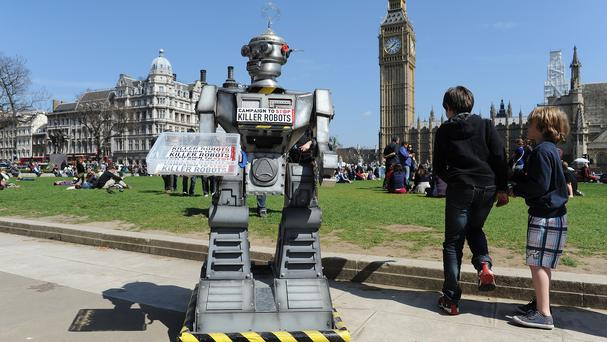 A robot in Parliament Square, central London, during a photocall for the Campaign to Stop Killer Robots