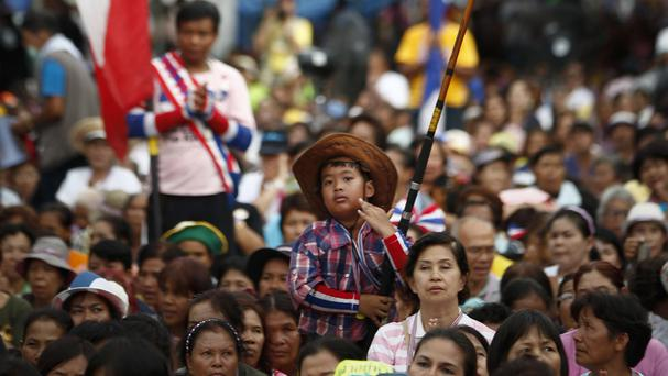 An anti-government protest in Bangkok, where violence has marred a separate rally (AP)