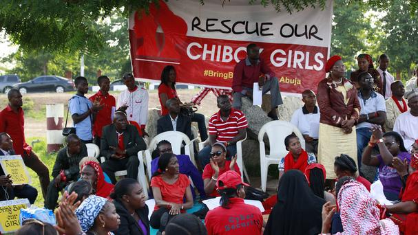 People attending a rally calling on the Nigerian government to rescue the kidnapped schoolgirls (AP)