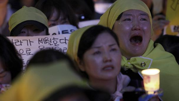 The sinking of the ferry Sewol has sparked widespread protests across South Korea about transport safety (AP)