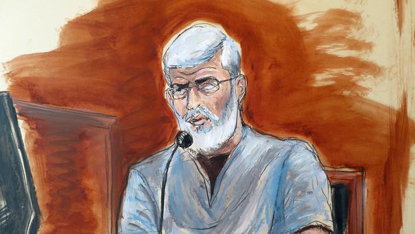 A courtroom drawing of Abu Hamza, testifying in his own defence at federal court in New York (AP)