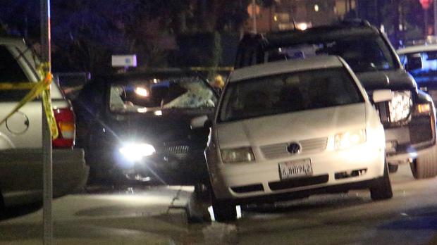 A car window can be seen shot out after a mass shooting near the campus of the University of Santa Barbara in Isla Vista, California (KEYT-TV/AP Wire)