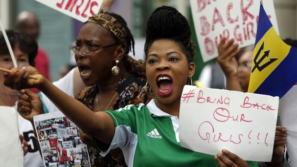 Protesters march from the Nigerian High Commission to Downing Street calling for the return of the kidnapped schoolgirls
