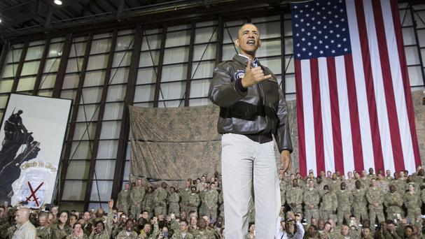 President Barack Obama greets troops at a rally at Bagram Air Field during a trip to Afghanistan