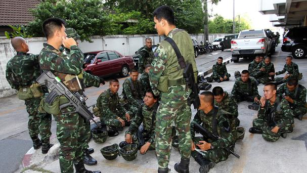 Thai soldiers have taken control of the capital Bangkok as part of the military coup (AP)