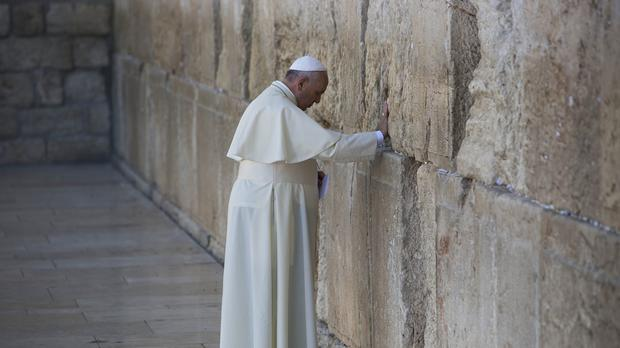 Pope Francis prays in front of the Western Wall (AP)
