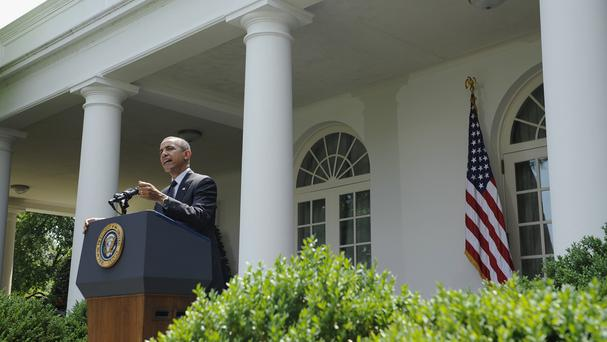 President Barack Obama speaks about the future of US troops in Afghanistan in the Rose Garden of the White House (AP)