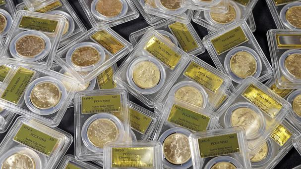 Some of the 1,427 gold coins found by a California couple out walking their dog (AP)