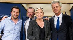 Marine Le Pen, second right, with Dutch Freedom Party leader Geert Wilders, right, Harald Vilimsky of Austria's Freedom Party, second left, and Matteo Salvini of Italy's Lega Nord (AP)
