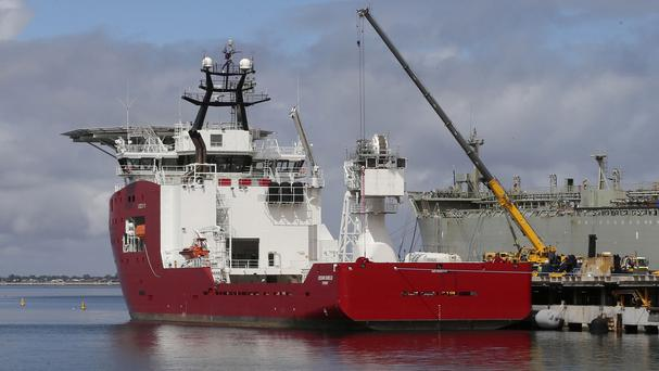 The Australian navy ship Ocean Shield was fitted with a towed pinger locator to aid the search for missing Malaysia Airlines Flight MH370 (AP)