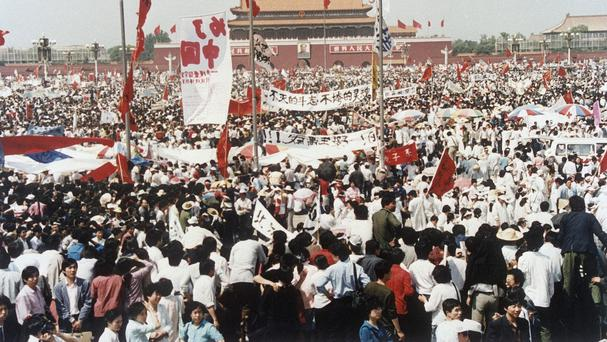 A 1989 Tiananmen Square pro-democracy rally - Chinese authorities are cracking down ahead of the anniversary (AP)