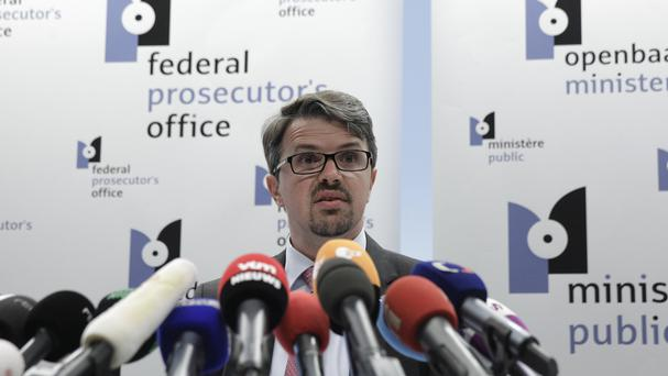 Belgian federal prosecutor Frederic Van Leeuw addresses the media at the Federal Prosecutor's office in Brussels (AP)