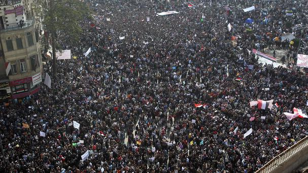 Protesters in Cairo's Tahrir Square, during the 'Arab spring' uprising that removed President Hosni Mubarak