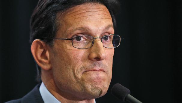 Eric Cantor delivers a concession speech in Richmond, Virginia, after losing in the Republican primary to tea party candidate Dave Brat (AP)