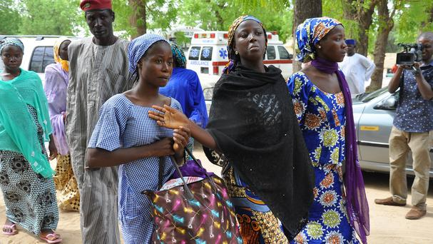 Some of the escaped girls who were kidnapped from the government secondary school Chibok (AP)