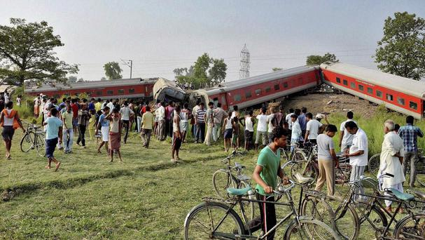 The train derailed near Chhapra in Bihar, India (AP)