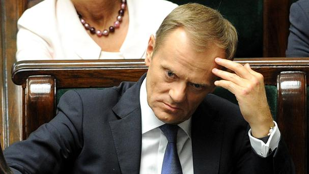 Polish prime minister Donald Tusk in the parliament in Warsaw (AP)
