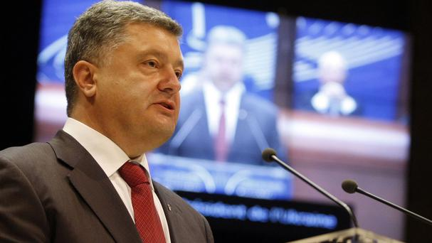 Ukrainian President Petro Poroshenko delivered a speech to the Parliamentary Assembly of the Council of Europe (AP)