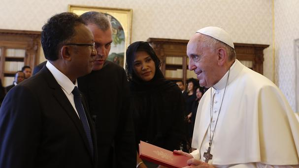 Pope Francis meets with the president of Madagascar at the Vatican (AP)