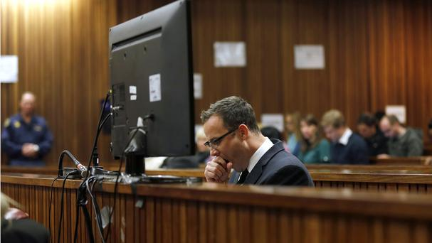 Oscar Pistorius during day 37 of his trial in Pretoria, South Africa. (AP Photo/Jerome Delay,Pool)