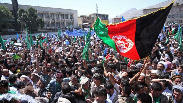A protest is held over alleged election fraud in Kabul (AP)