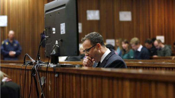 Oscar Pistorius during day 37 of his trial in Pretoria, South Africa. (AP Photo/Jerome Delay)