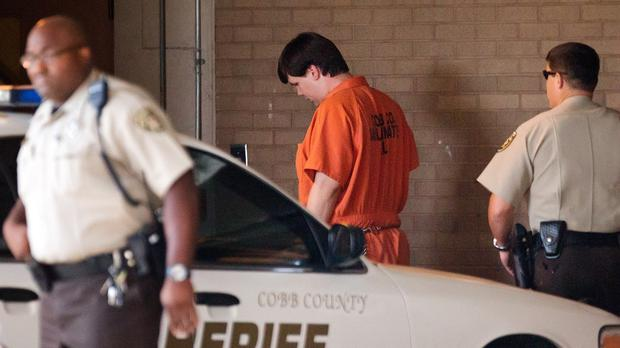 Justin Ross Harris, the father of a toddler who died after police say he was left in a hot car, arrives for his bond hearing (AP)