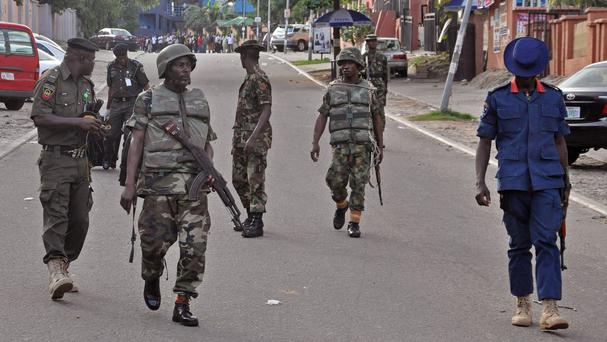 Nigerian soldiers were locked in fierce fighting at a military base