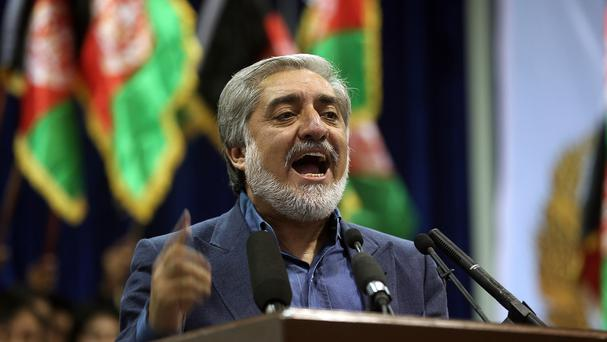 Afghan presidential candidate Abdullah Abdullah speaks during a gathering of his supporters in Kabul, Afghanistan (AP)