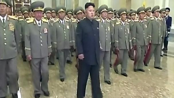 In this image made from video, North Korean leader Kim Jong Un visits Kumsusan Palace of the Sun to mark the 20th anniversary of the death of its first leader, Kim Il Sung, in Pyongyang (AP/KRT via AP Video)