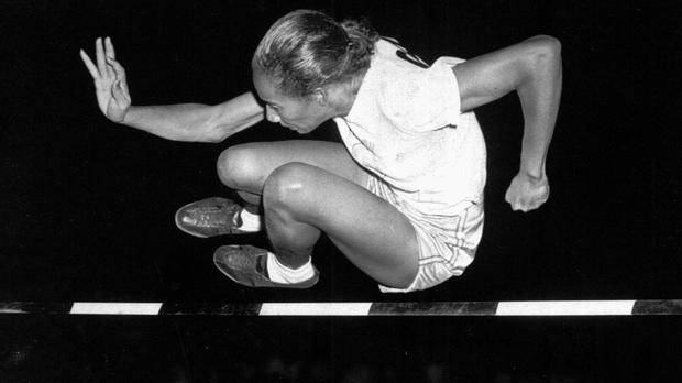 Alice Coachman Davis clears a 5ft bar to win the running high jump in Grand Rapids, Iowa, in 1948 (AP)