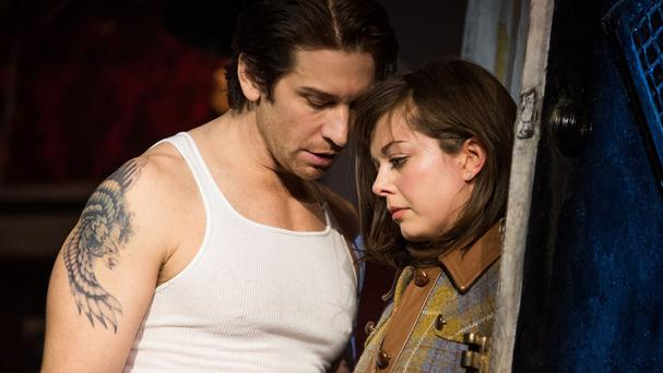 Margo Seibert and Andy Karl during a performance of the ill-fated Rocky musical based on the Sylvester Stallone 1976 blockbuster (AP/Polk and Co)