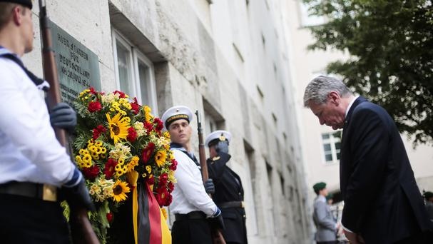 German president Joachim Gauck attends a ceremony to commemorate the 70th anniversary of the attempted assassination of Adolf Hitler (AP)
