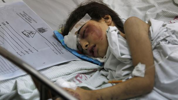 Beisan Dhahir, seven, survived with her aunt and uncle after her home was destroyed in the Israeli attack on Shijaiyah, but her mother, father, brother, sister and baby sister were killed (AP)