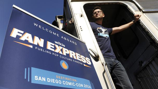 Nick Friedland of San Francisco waits for the departure of the Wikia Fan Express train to Comic-Con (AP)