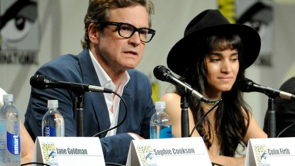 Colin Firth, pictured with Sofia Boutella, at the panel for Kingsman: Secret Service at Comic-Con International (AP)