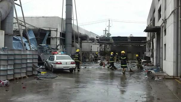 The site of an explosion at an eastern Chinese automotive parts factory in Kunshan City, Jiangsu Province. (AP)