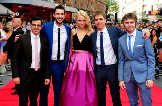 (Left to right) Simon Bird, Blake Harrison, Emily Berrington, Joe Thomas and James Buckley attending the premiere of new film The Inbetweeners 2 at the Vue Cinema in London. Photo: PA