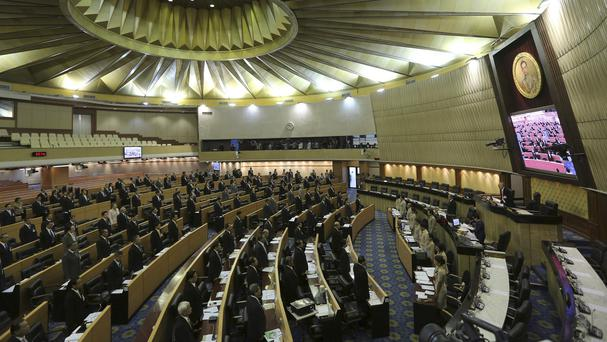 Members of the National Legislative Assembly hold a meeting at the Parliament in Bangkok, Thailand (AP)