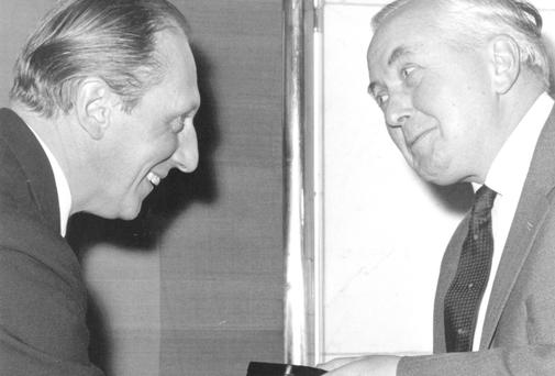 Formidable Sources: Chapman Pincher's information was so reliable that Soviet intelligence tried to recruit him. Named as Reporter of the Decade in 1966, Pincher, left, was presented with the award by Harold Wilson, who a year later was furious at one of Pincher's scoops